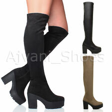 High Heel (3-4.5 in.) Block Synthetic Upper Boots for Women