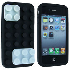 Black Lego Silicone Skin Case Hard Case Cover for iPhone 4 / 4S