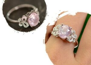 Certified Unheated Light Pink Sapphire and Diamond Ring in Solid 18k white gold
