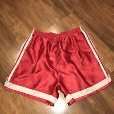 Vtg 90s ADIDAS Red Striped Mens MEDIUM Shiny glanz Wet Look Nylon Soccer Shorts