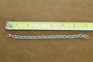 """Vintage Sterling Silver Cable Chain Bracelet 7"""" 24 grms."""