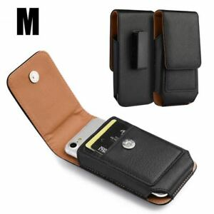 Alcatel Raven A574BL - Black Vertical Leather Pouch Belt Clip Holster Card Case
