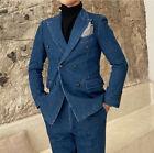Men's Demin Blue Suits Double-breasted Peak Lapel Cowboy Leisure Suits Regular
