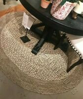Pottery Barn Border Round Jute Rug Sand 6 ft Braid New Authentic