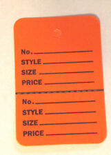 """100 ORANGE 2.75""""x1.75"""" Large Perforated Unstrung Price Consignment Stor Tags"""