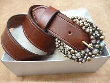 11/2' Inch 38mm Brown Real Italian Leather Diamante Dress Belt Dark Crystal Gx1