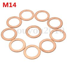 10x M14 14mm Motorcycle ATV Brake Fuel Banjo Seal Copper Crush Washer Flat Ring