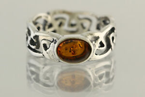 Glittering Cognac Color Genuine BALTIC AMBER Unisex Silver Ring 6 180703-32