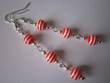 Long Drop / Dangle Earrings - Nautical / Sailor Stripe - Red / White