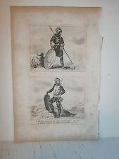Gravure  France  Soldat Gaulois et soldat Franc du temps de Clovis en 500