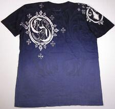 CRANK COUTURE Fleur De Lis Cross T-shirt Navy Tee SzS