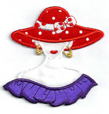 Red Hat Lady Society - Polka Dots - Purple - Tea - Iron On Applique Patch