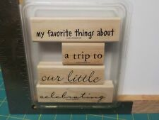 STAMPIN UP PHRASE STARTERS SET 4 WOOD MOUNTED RUBBER STAMPS EUC A13438