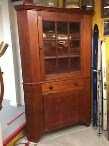 Antique Corner Cabinet Early 1800's  Two Piece Cherry Wood Original Glass Beaut