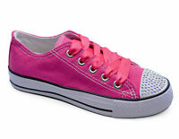 LADIES PINK CANVAS DIAMANTE LACE-UP PLIMSOLL PUMPS TRAINERS CASUAL SHOES UK 3-8