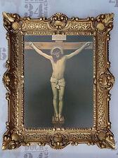 Gemälde Jesus Christus am Kreuz mit Rahmen Wandbild Barock Antik Gold 56x46 cm