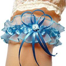 Strumpfband Braut blau mit Schleifen Röschen aus Satin und Tüll Hochzeit EU