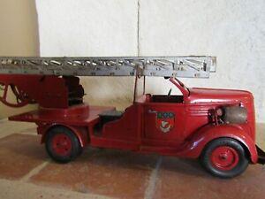 Camion pompier Vébé, jouet ancien en tôle, joustra, jrd, cij,