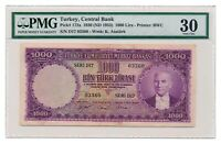 TURKEY banknote 1000 LIRA 1953. PMG VF 30 Very Fine grade