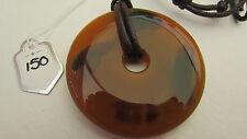 Un superbo Arancione & Verde Agata Ciondolo CIAMBELLA su una Collana Corda Cerato. (150)