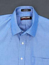 Kirkland Signature Mens Button Up Long Sleeve Dress Shirt 16.5 X 33 Blue