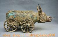 """10"""" Chine Bronze Ware Dynastie Zodiaque Animal Boeufs Taureaux Voiture Statue"""