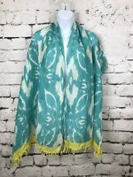 Loft Blue Green Teal Yellow Border Linen Fringed Scarf Wrap 23 x 68