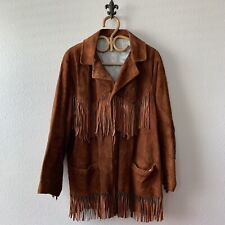 Rare Vtg 60s 70s Mens Leather Fringe Western Motorcycle Work Coat Jacket S/M 42