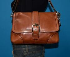 COACH HAMPTON Brown Stitched Leather Satchel Cross-Body Purse Bag #12606
