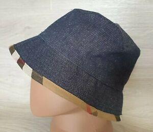 Authentic Burberry Denim Jeans Bucket Hat Cap Nova Check Sz S Diameter 22.5 inch
