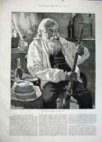 Original Old Antique Print 1883 King Fine Art Bearded Man Smoking Pipe Gun 19th