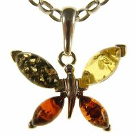BALTIC AMBER STERLING SILVER 925 BUTTERFLY PENDANT NECKLACE CHAIN JEWELLERY GIFT