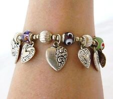 Heart Charm Beaded Bangle Bracelet Lampwork Beads Celtic Cross Boho Jewelry