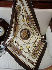 foulard carré  epoque 1980 vintage cuirs et cuivres d'attelage equitation