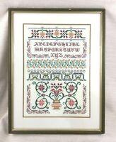 Vintage Embroidery Sampler Needlepoint Hand Sewn Cross Stitch Framed LARGE