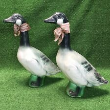 Lot Of 2 Vintage Union Products Blow Mold Canadian Christmas Goose 23� Geese
