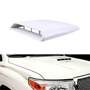 White Universal Decorative Air Flow Intake Hood Scoop Vent Bonnet Cover For Car