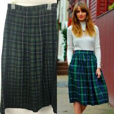 Vintage Green Plaid Skirt 14 Wool Blend Fit & Flare Pleated Farquharson Tartan n