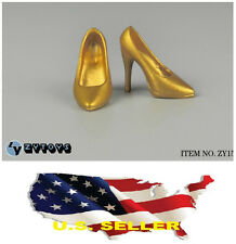 "1/6 scale shoes for 12"" Female Figure Gold high heeled shoes Phicen❶❶US seller❶❶"