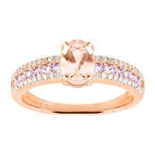 Natural Morganite & Tanzanite Ring with Diamonds in 10K Rose Gold