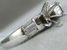 ESTATE BAGUETTE DIAMOND 18KT W GOLD 6 PRONG SEMI MOUNT ENGAGEMENT RING #L1336.17