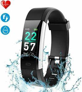 Bluetooth Smartwatch Fitness Tracker Armband Uhr Pulsmesser Sportuhr Wasserdicht