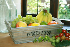 Wooden Fruit Trug Grey Washed Box Rustic Country French Shabby Storage Crate
