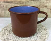 Vintage Brown Enamelware Mug Cup Pot With Blue Interior