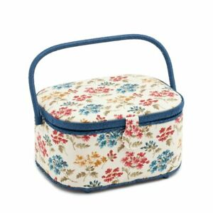 """Large Oval Sewing Basket Sewing Box """"Fairfield"""" (30 x 23 x 16 cm)."""