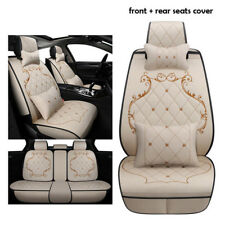 One Set Luxury Linen England Style Beige Car Seat Cushions Front+Rear Breathable