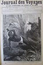 JOURNAL DES VOYAGES N° 74 de 1878 UNE ATTAQUE DE CROCODILES / PATAGONIE CHASSE