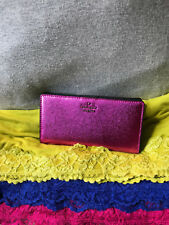 Kate Spade Stacy Leather Baja Rose Hot Pink Metallic Bi-fold Snap Wallet Clutch