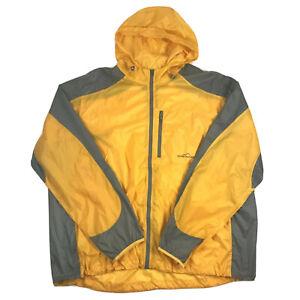Eddie Bauer Sport Men Yellow Full Zip Windbreaker Jacket Hood Vented Sz XXL Tall