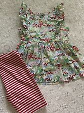 Hanna Andersson 100 Floral Top and Stripes Shorts Euc
